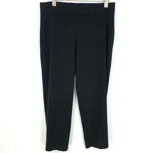 T by Talbots Black Solid Straight Ankle Pants Yoga